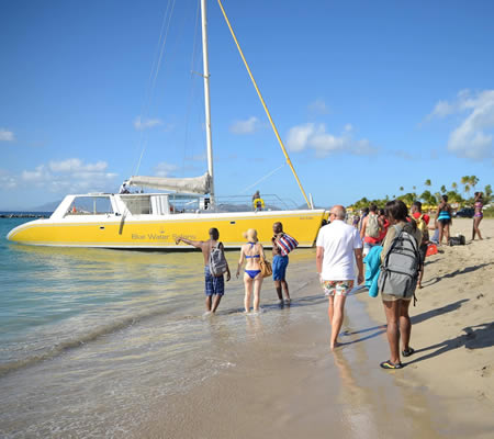 Catamaran tour at Pinney's Beach