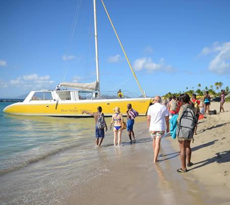 Catamaran tour at Pinney's Beach